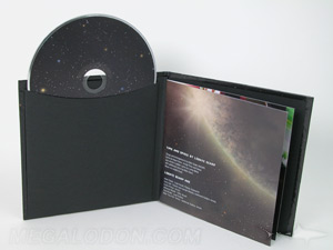 cd book packaging black kraft sleeve glued on inner pages stapled